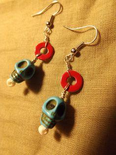 Skull Beaded Dangle Earrings by MyStitchesNStones on Etsy, $7.99
