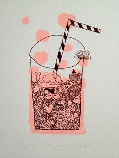 line drawings, screen print, drink, fizzi pop, doodl, illustration art, prints, pop screenprint, screenprint art