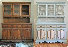 i want to repaint old wood furniture like this paint furniture, repainting furniture, painting old furniture, kitchen hutch, wood furniture, painted furniture, china cabinets, hutch redo, old china