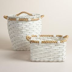 Lend a nautical feel to your bathroom or bedroom with our structured white rattan basket trimmed with natural rope. >> #WorldMarket Bed & Bath