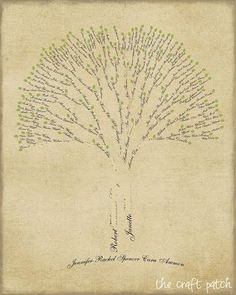 Family Tree Art...a little tutorial on how to make your own . Wouldn't this be a great display at a family reunion?