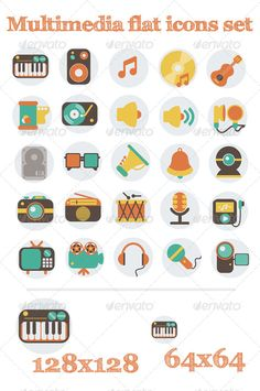 Multimedia Flat Icons Set  #GraphicRiver         Multimedia Flat Icons Set   100% Vector   Easy to change color or size   Fully layered and editable   Zip file includes: – EPS10 file – PNG  PSD files ( 128×128  64×64 )   All good day!                      Created: 7 December 13                    Graphics Files Included:   Photoshop PSD #Transparent PNG #Vector EPS                   High Resolution:   Yes                   Layered:   Yes                   Minimum Adobe CS Version:   CS