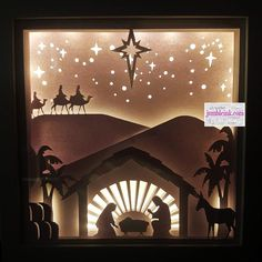 Christmas Shadow Boxes, Christmas Window Decorations, Christmas Nativity Scene, Christmas Paper, Christmas Lights, Christmas Crafts, Nativity Scenes, Christmas Printables, Christmas Bells