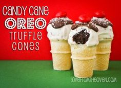 Candy Cane Oreo Truffle Cones   #bringJOYhome #holidays #recipes Oreo Fudge, Oreo Cake, Oreo Truffles, Oreo Pops, Christmas Desserts, Christmas Treats, Holiday Treats, Christmas Foods, Oreo Rice Krispie Treats