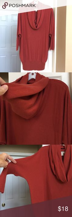 Cowl neck sweater Rust/dark orange color, medium weight cowl neck sweater.  Dolman sleeves.  Looks great with leggings k boots. Boutique Sweaters Cowl & Turtlenecks
