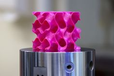 3-D-printed gyroid models such as this one were used to test the strength and mechanical properties of a new lightweight material.