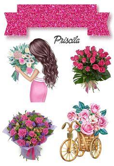Happy Birthday Art, Beautiful Birthday Cakes, Princess Cake Toppers, Birthday Cake Toppers, Flower Pot Cake, Disney Princess Pictures, Cartoon Girl Drawing, Flower Clipart, Flower Frame