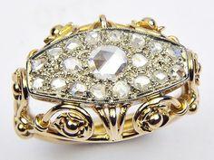 Superb Unusual Ornate Antique English Edwardian 18K Gold Rose Cut Diamond Ring   eBay