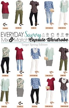 Fun Spring Target Capsule Wardrobe updated for 2017. Casual and cute mix and match outfits that are fun and frugal. via @everydaysavvy