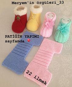 Yapmak işleyenler için harika ve pratik bir model👏👏👏 . A great and practical model for those who do. I sift # # Göznur of… Baby Booties Knitting Pattern, Crochet Baby Shoes, Crochet Baby Booties, Baby Knitting Patterns, Baby Patterns, Knit Crochet, Crochet Patterns, Free Knitting, Baby Sandals