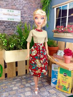 Barbie Doll Dress Tan and Red Floral Print Doll Dress and