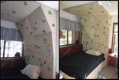 Headboard = Climbing wall  Bed = Crash pad