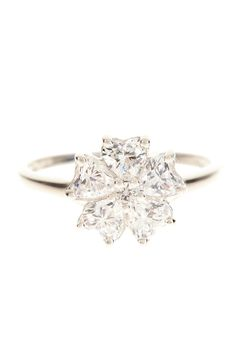 Simulated Diamond Flower Ring
