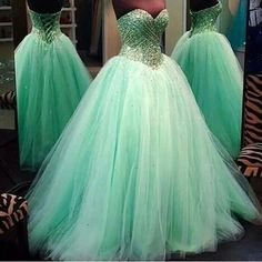 Long Puffy Turquoise Corset Prom Dresses Fully Beaded Top Sweetheart Neckline Lace-up Back Vestido Formatura Longo CS121