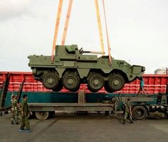 """Unloading delivered to Indonesia Ukrainian armored personnel carriers BTR-production with 4M combat module BM-7 """"Sail"""", intended for the Indonesian Marines."""