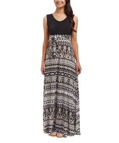 f26f86e7e3 Black   White Geo Tie-Waist Maxi Dress