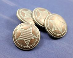 Stripe Star Metal Buttons , Copper Patina Color , Shank , 0.91 inch , 10 pcs by Lyanwood, $7.00