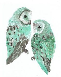 turquoise watercolor owls