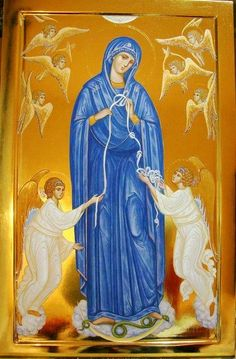 Our Lady who unties the knots in our lives! Byzantine Icons, Byzantine Art, Blessed Mother Mary, Blessed Virgin Mary, Religious Icons, Religious Art, San Damian, Immaculée Conception, Hail Holy Queen