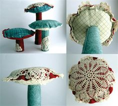 Mushrooms - but I would make the lace the bottoms...