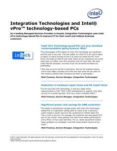 Integration technologies and Intel vPro technology-based PCs