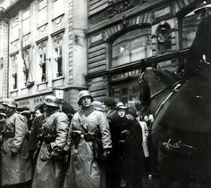Czechoslovakia, pic: March German soldiers on the streets of Prague - Germany invaded Czechoslovakia in March 1939 after a list of demands and ultimatums from the Nazis were not met Germany Ww2, Munich Germany, Munich Agreement, Military Dogs, History Projects, German Army, Vietnam War, World War Ii, Wwii