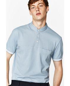 Mandarin Polo Shirt From Zara Mandarin Polo Shirt . Polo Shirt Style, Polo Shirt Outfits, Polo Shirt Design, Polo Design, Polo Outfit, Polo Shirt Women, Polo R, Polo Tees, Shirt Collar Styles
