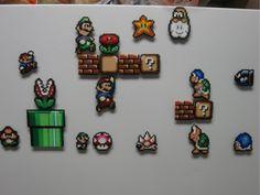 Super mario 8 bit fridge magnets