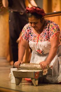 """Making the """"nixtamal"""" (crushing the corn to make tortillas). Is there something more traditional?"""