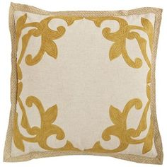 *similar* Bedroom Pillow.  Embellished Jute Border Pillow - Honey