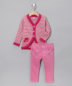 Take a look at this Fuchsia Raccoon Cardigan & Pants - Toddler by Sweet & Soft on #zulily today!