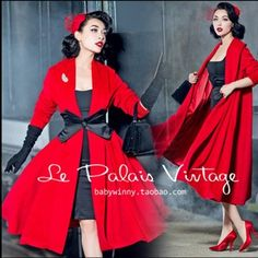 Cheap wool swing coat, Buy Quality long wool swing coat directly from China cashmere coat Suppliers: le palais vintage women red long wool swing coat pinup rockabilly manteau d'hiver femme plus size sexy cashmere coats Vintage Outfits, Vintage Dresses 50s, Vestidos Vintage, Retro Dress, Look Vintage, Vintage Mode, Retro Look, Vintage Ladies, Rockabilly Mode