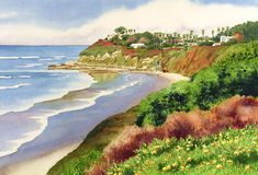 Mary Helmreich   WATERCOLOR    Beach At Swamis Encinitas Painting