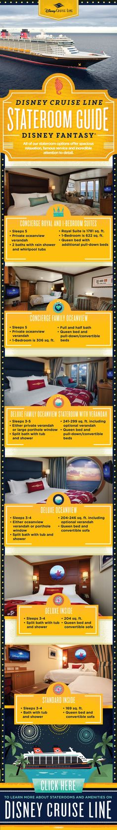 All Disney Cruise Line stateroom options offer spacious relaxation, famous Guest service and incredible attention to detail. Contact me at joy.hiett@simplyenchanted.info to see which stateroom is best for your family onboard the Disney Fantasy! #disneycruise