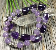 Lilac Amethyst-Fine Sterling Beads and Charm-Stretch Bracelet-7 inch Wrist-Heart charm with tribal leaf design by IsaStone on Etsy