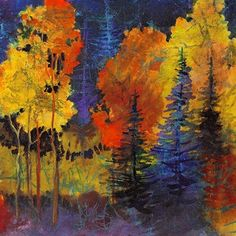 Autumn Glow,  080816 by Carol Nelson Acrylic ~ 8 inches x 8 inches