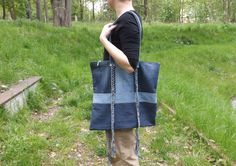 Large Shoulder Bag with braids, 2 shadows of blue jeans, unique gift for her, canvas shoulder big bag with braids straps of blue jeans/denim by prezenciarniaJo on Etsy https://www.etsy.com/listing/506393646/large-shoulder-bag-with-braids-2-shadows