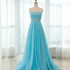 Strapless A-line Tulle Prom Dresses Crystals Women Party Dresses