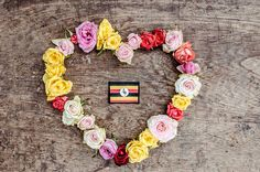 #Patriotism #concept. #Uganda #flag in a heart shape of #rose flowers