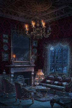 art, vampire, and castle room image Fantasy Places, Fantasy World, Dark Fantasy, Fantasy Art, Gothic Art, Victorian Gothic, Victorian Homes, Victorian Vampire, Victorian Costume
