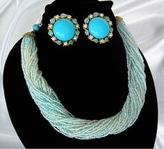 Multi Strand Turquoise Glass Seed Bead Necklace