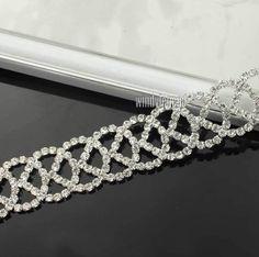 1 Yard Funkeln Silber Handwerk Glas Strass Ketten Applikationen Nähen
