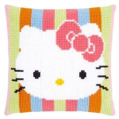 Kussen Hello Kitty gestreept borduurpakket - Vervaco | Handwerk.nl