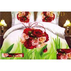 Bílo zelený povlak na postel s kyticí růží - dumdekorace.cz