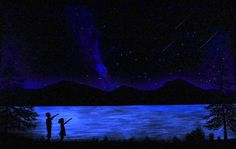 """This 96"""" x 60"""" glow in the dark painting was a private commission. My clients two children are shown silhouetted against a beautiful lake illuminated by star glow in the Adirondack Mountains."""