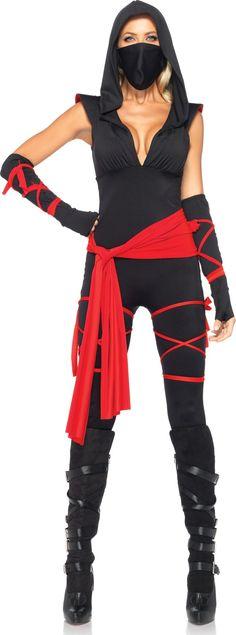 Déguisement ninja femme : Ce déguisement de ninja pour femme se compose d'une combinaison, d'une ceinture, des manchettes et un masque.La combinaison est noire en tissu élastique. Une capuche, un...