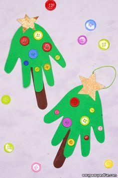 Handprint Christmas Tree Ornament Idea for Kids