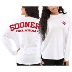 Women's Oklahoma Sooners White Sweeper Long Sleeve Oversized Top