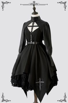 Penny House -The Holy Cross- Gothic Steampunk Lolita Jumper DressYou can find Gothic lolita and more on our website.Penny House -The Holy Cross- Gothic Steampunk Lo. Steampunk Lolita, Gothic Lolita Fashion, Gothic Outfits, Edgy Outfits, Gothic Dress, Cosplay Outfits, Cool Outfits, Steampunk Dress, Victorian Gothic Clothing