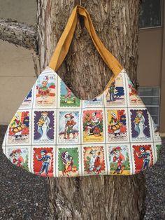 La Loteria Day of the Dead Hobo Bag Handbag Purse Alexander Henry Fabric Spanish Tarot Cards Dia de los Muertos Occupations Jobs Vintage